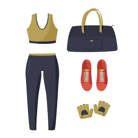 Simple vector illustration isolated on white background. Women tight-fitting sport suit, red sneakers, dark blue bag and sport gloves.