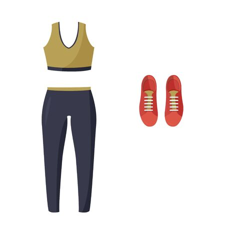 Simple vector illustration isolated on white background. Women tight-fitting sport suit and sneakers. Ilustração