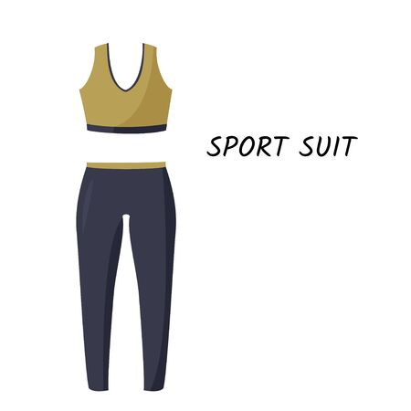 Simple vector illustration isolated on white background. Women tight-fitting sport suit.