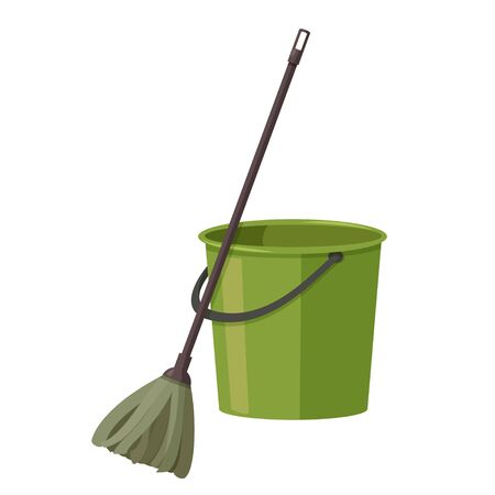 Vector illustration isolated on white background. Bucket and mop for cleaning.