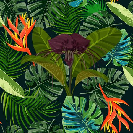 Tropical exotic plant seamless pattern. Dark purple Tacca flower and heliconia background.