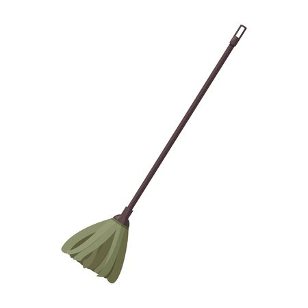 Single tool isolated on white background. Green mop vector illustration.