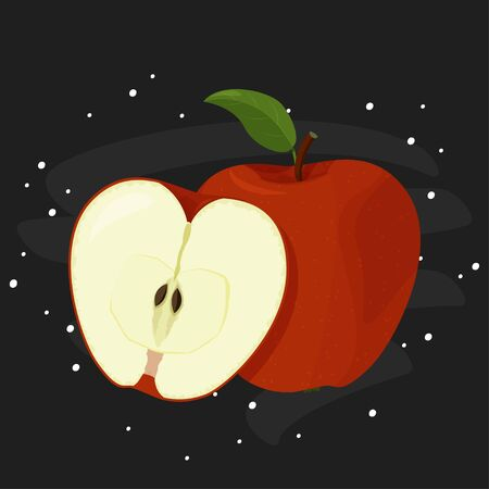 Vector illustration of detailed big shiny red apple. Fresh fruit on chalkboard.