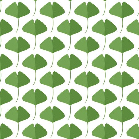 Seamless pattern with green ginkgo leaves. Natural simple background. Vettoriali