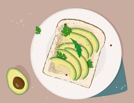 Delicious avocado sandwich with sesame seeds, seasoning and dill. Vector illustration. Avocado toast. Fresh toasted bread with slices of ripe avocado.