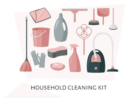 Colorful collection of cleaning products. Home cleaning tools. Vector set of illustrations in flat design style.