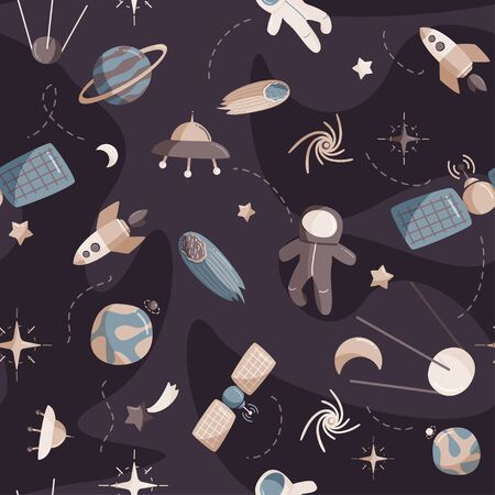Cute space seamless pattern. Colorful kids background. Ilustracja