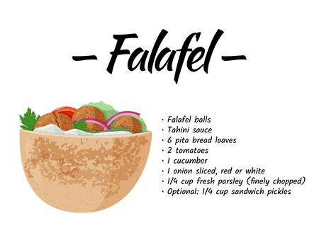 Traditional dish of Jewish cuisine Falafel pita sandwich. Vegetarian food recipe design template. Isolated on white background.