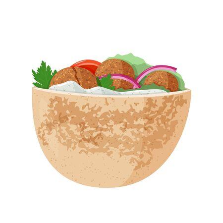 Traditional dish of Jewish cuisine Falafel pita sandwich. Vegetarian food. Isolated on white background. Ilustracja