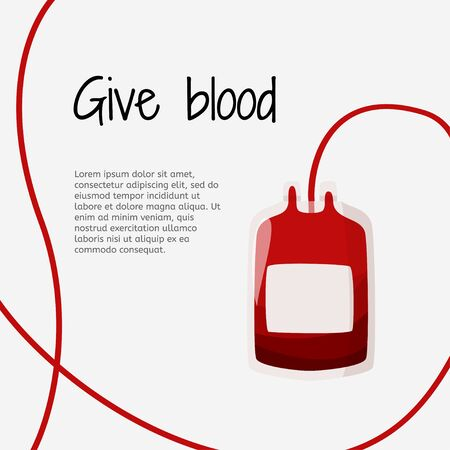 Blood donation graphic design template. Blood container illustration in medical artice. Ilustracje wektorowe
