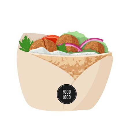 Vegetarian food. Traditional dish of Jewish cuisine Falafel pita sandwich in paper packaging with black sample logo sticker.
