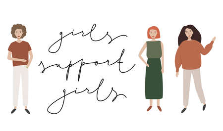 Girls support girls handwritten poster with young girls. Woman motivational slogan. Feminist movement. Illustration