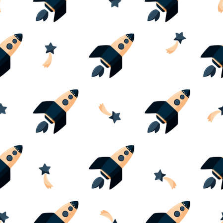 Simple kids background with outer space. Cartoon rocket ship seamless pattern.