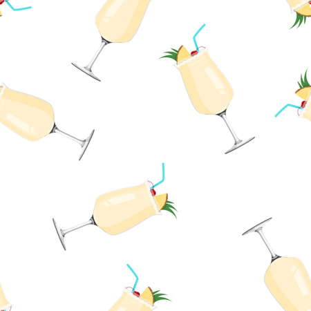 Tropical drink Pina Colada. Alcohol drink seamless pattern.