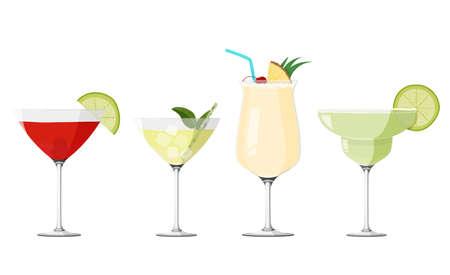 Cosmopolitan, Pina Colada, Daiquiri and Margarita cocktails set. Alcohol drinks collection.