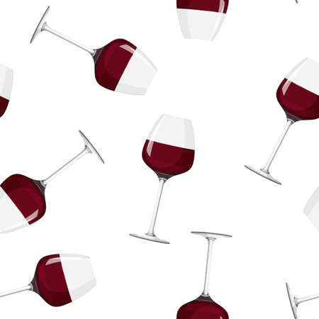 Glass of red wine background. Seamless pattern with alcohol drink. 矢量图像