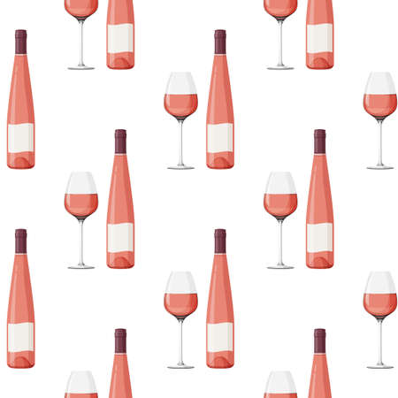 Elongated glass bottle and glass of rose wine background. Seamless pattern with alcohol drink. 矢量图像