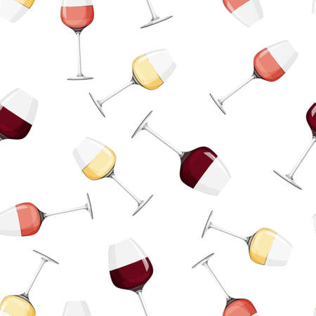 Glass of rose wine background. Seamless pattern with alcohol drink.