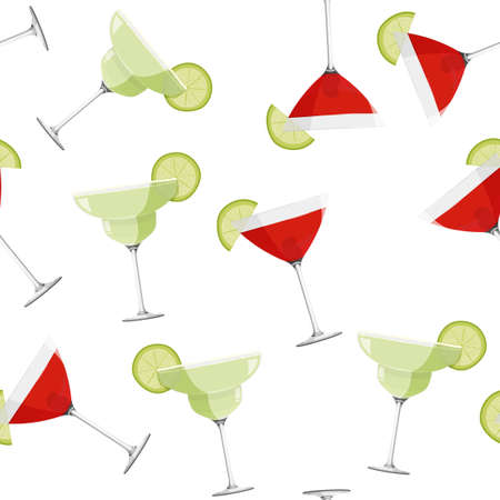Cosmopolitan and Margarita cocktails seamless pattern. Alcohol drinks background.