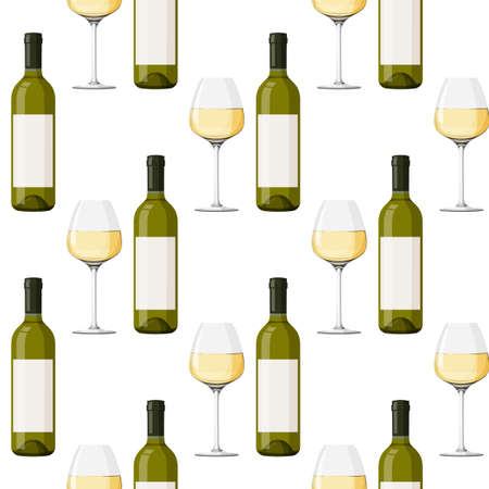 Glass green bottle and glass of white wine background. Seamless pattern with alcohol drink. 矢量图像