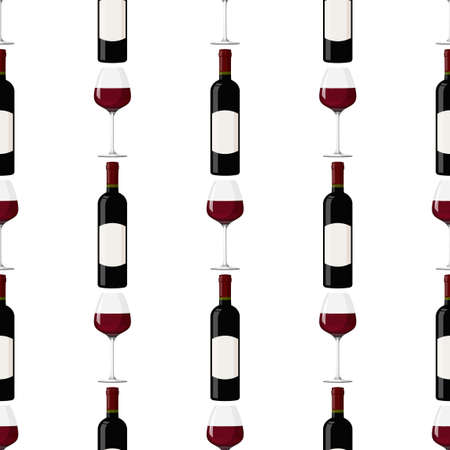 Dark glass bottle and glass of red wine background. Seamless pattern with alcohol drink.