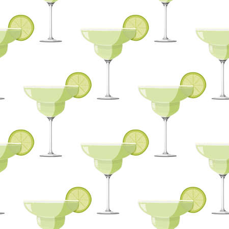 Margarita cocktail seamless pattern. Alcohol drink background.