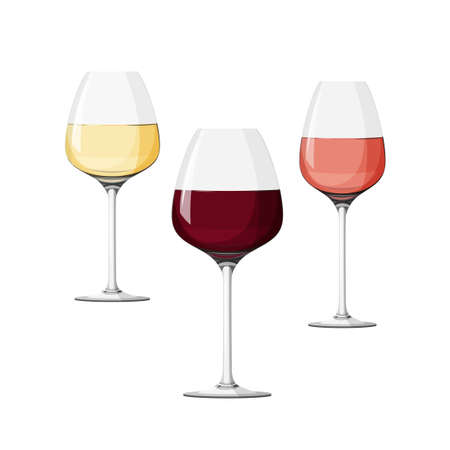 Set of three wineglasses, white, red and rose wine. Realistic vector collection.