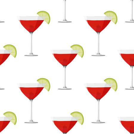 Cosmopolitan cocktail seamless pattern. Alcohol drink background. 矢量图像