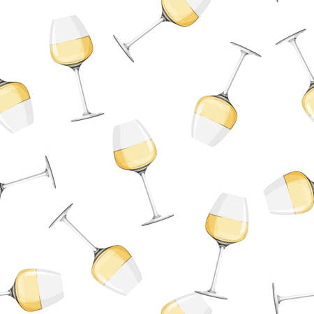 Glass of white wine background. Seamless pattern with alcohol drink.