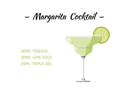 Margarita cocktail realistic vector illustration. Isolated on white background. Alcohol drink recipe. 矢量图像