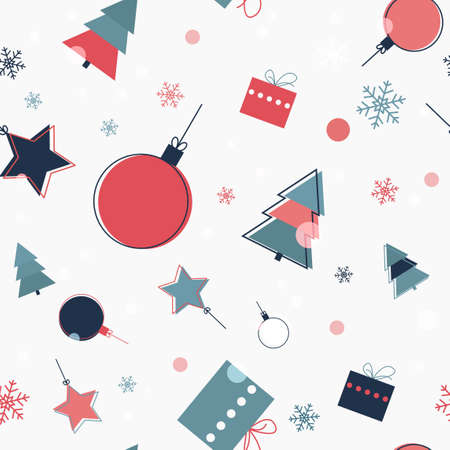 Merry Christmass seamless pattern. Colorful holiday background.