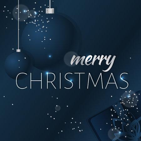 Elegant Christmas background with shining silver snowflakes. Dark blue vector illustration. 矢量图像