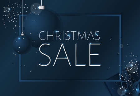 Elegant Christmas sale background with shining silver snowflakes. Dark blue vector template for shopping posters. 矢量图像