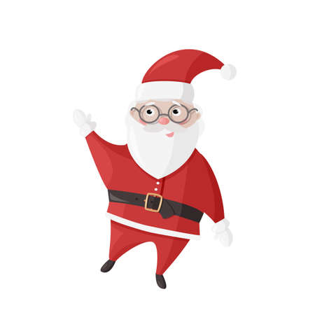 Santa Claus on white background. Cute Christmas character for holidays design.
