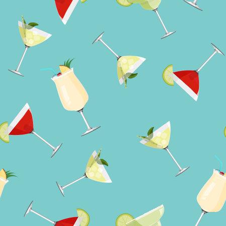 Cosmopolitan, Pina Colada, Daiquiri and Margarita cocktails background. Alcohol drinks seamless pattern.