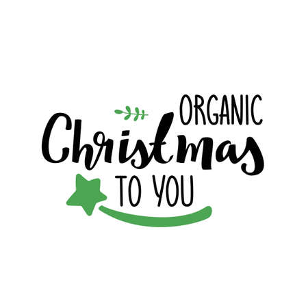 Organic Christmas to you. Vector simple greeting card isolated on white background. 矢量图像