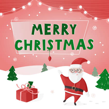 Merry Christmas colorful poster, greeting card. Vector illustration with Santa Claus.