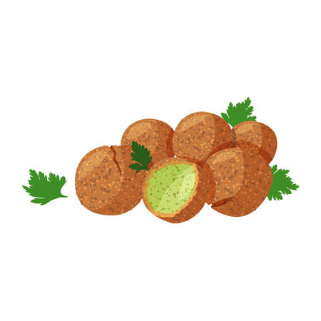 Traditional dish of Jewish cuisine Falafel. Vegetarian food isolated on white background.