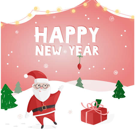 Happy New Year colorful poster, greeting card. Vector illustration with Santa Claus. 矢量图像