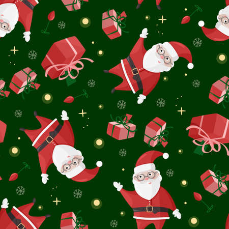 Cute Santa Claus seamless pattern. Colorful Christmas background.