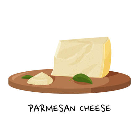 Piece of Parmesan cheese and a small pile of grated cheese on a wooden tray. Realistic vector illustration.