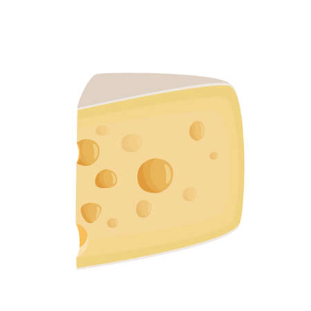 Large piece of Maasdam cheese. Realictic vector illustration for meal design. Isolated on white background.