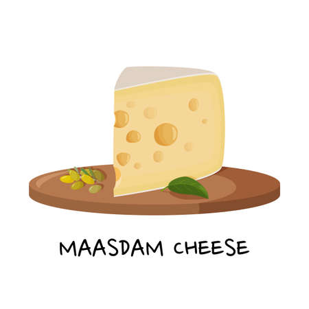 Large piece of Maasdam cheese on a wooden tray. Realictic vector illustration for meal design. Isolated on white background.