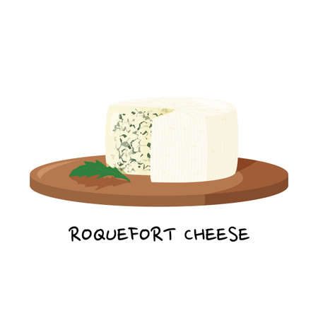 Blue cheese isolated on white background. Roquefort cheese on a wooden tray vector illustration. 矢量图像