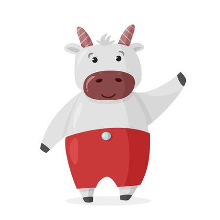 Cute Cartoon Bull character. Vector Christmas illustration.