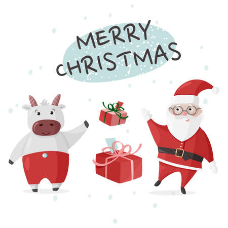 Merry Christmas colorful poster, greeting card. Vector illustration with Santa Claus and Ox cute character.