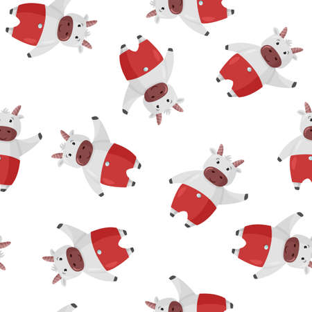 Cute cartoon cow Christmas character background. Seamless pattern with ox for new year design. 矢量图像