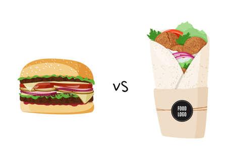 Burger and falafel colorful vector illustration. Meat burger vs vegetarian roll.