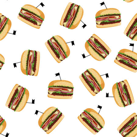 Fresh big burger seamless pattern. Meal colorful background.