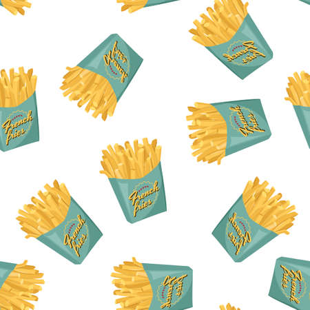 French fries in green paper box background. Fast food seamless pattern.